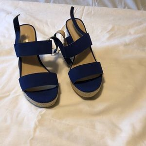 Montego Bay Club Blue wedged sandals .. size 8.5